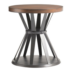Lexington - Lexington 11 South Profile Lamp Table 456-953 - The Chestnut brown with gray undertones on the wood top complements the open gathered metal base in the graphite finish. Functional yet visually artistic.