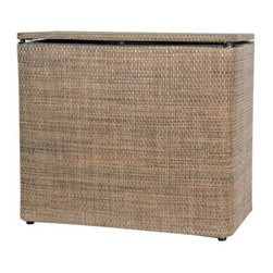 Lamont Home - Roxie Bench Hamper Multi Brown - Made from high quality PVC/Polyester fabric, these traditional styles have been updated in a wide range of patterns to match any decor. A vinyl lid with metal grommet completes the look for the hamper. A very durable product that adds style to any laundry room.