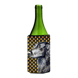 Caroline's Treasures - Flat Coated Retriever Candy Corn Halloween Portrait Wine Bottle Koozie Hugger - Flat Coated Retriever Candy Corn Halloween Portrait Wine Bottle Koozie Hugger Fits 750 ml. wine or other beverage bottles. Fits 24 oz. cans or pint bottles. Great collapsible koozie for large cans of beer, Energy Drinks or large Iced Tea beverages. Great to keep track of your beverage and add a bit of flair to a gathering. Wash the hugger in your washing machine. Design will not come off.