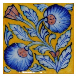 "Knobco - Tiles 4X4""Inch, White Leaf With Yellow Base - White leaf with yellow Base Tile (4x4) from Jaipur, India.  Unique, hand painted tiles for your kitchen or other tiling project.  Tile is 4x4"" in size."