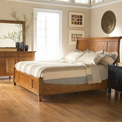 Broyhill - Attic Herilooms Queen Sleigh Bed in Natural Oak - 4397-260SQ - Sleigh Headboard