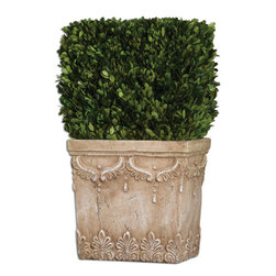 Uttermost - Boxwood Hedge Planter - Preserved, natural evergreen foliage potted in a stone finished, ceramic planter.
