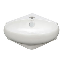 Elite Sinks - Porcelain Corner Wall-Mounted Oval Sink - ELANTI 1103 - NEW DESIGN! If you thought you did not have room for elegance in a corner sink, you'd be wrong! This lovely little oval corner sink graces the smallest of spaces. Elite Sinks manufactures our own classic high-quality sinks and sells them directly to you!