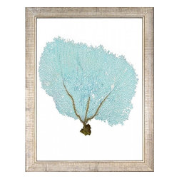 Wendover Art - Blue Fan Coral IX - This striking Giclee on Paper print adds subtle style to any space. A beautifully framed piece of art has a huge impact on a room for relatively low cost! Many designers and home owners select art first and plan decor around it or you can add artwork to your space as a finishing touch. This spectacular print really draws your eye and can create a focal point over a piece of furniture or above a mantel. In a large room or on a large wall, combine multiple works of art to in the same style or color range to create a cohesive and stylish space! This striking piece is beautifully framed in distressed silver leaf.
