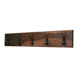 Pink Pianos Design - Handmade Walnut Coat Rack - I love to naturally finish wood. This handmade walnut coat rack is ready to ship or made to order, if a custom length is required.
