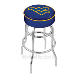 """Holland Bar Stool - Holland Bar Stool L7C1 - 4 Inch West Virginia Cushion Seat - L7C1 - 4 Inch West Virginia Cushion Seat w/ Double-Ring Chrome Base Swivel Bar Stool belongs to College Collection by Holland Bar Stool Made for the ultimate sports fan, impress your buddies with this knockout from Holland Bar Stool. This L7C1 retro style logo stool has a 4"""" cushion with a tough double-ring base and a chrome finish. Holland Bar Stool uses a detailed screen print process that applies specially formulated epoxy-vinyl ink in numerous stages to produce a sharp, crisp, clear image of your desired logo. You can't find a higher quality logo stool on the market. The structure is triple chrome-plated to ensure a rich, polished finish that will last ages. If you're going to finish your bar or game room, do it right- with a Holland Bar Stool. Barstool (1)"""