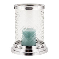 Alliyah Rugs - Elizabeth Diamond Cut Glass Hurricane Lamp Medium - This simple yet elegant cylinder Hurricane Lamp has a diamond cut glass chimney with a polished aluminium finish on the rim and base. It is perfect for adding a warm glow to evenings, outdoors or indoor.