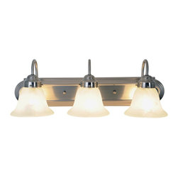 Premier - Three Light Lunar Bay 24 inch Strip Fixture - Brushed Nickel - AF Lighting 617341 24in. W by 8in. H by 9in. E Lunar Bay Lighting Collection Three Light Vanity Fixture, Brushed Nickel.