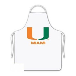 Sports Coverage - Miami University Tailgate Apron - Collegiate Miami University White screen printed logo apron. Apron is 100% cotton twill with screenprinted logo. One Size fits all.