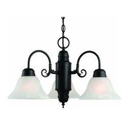 DHI-Corp - Millbridge 3-Light Chandelier, Oil Rubbed Bronze - The Design House 514463 Millbridge 3-Light Chandelier is made of formed steel, alabaster glass and finished in oil rubbed bronze. This 3-light chandelier is rated for 120-volts and uses (3) 60-watt medium base incandescent bulbs. This chandelier's sprawling arms meet (3) downward facing lamps gently diffusing light from above. Measuring 14-inches (H) by 22-inches (W), this 6.3-pound fixture has a 48-inch chain to extend from high ceilings. Curved lines and soft details add a modern accent in a kitchen, dining room or entry way. This product is UL and cUL listed. The Millbridge collection features a beautiful matching pendant, wall sconce, ceiling mount and vanity light. The Design House 514463 Millbridge 3-Light Chandelier comes with a 10-year limited warranty that protects against defects in materials and workmanship. Design House offers products in multiple home decor Categories including lighting, ceiling fans, hardware and plumbing products. With years of hands-on experience, Design House understands every aspect of the home decor industry, and devotes itself to providing quality products across the home decor spectrum. Providing value to their customers, Design House uses industry leading merchandising solutions and innovative programs. Design House is committed to providing high quality products for your home improvement projects.