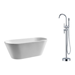 """AKDY - AKDY 67"""" AK-ZF294+8711 Euro Style White Acrylic Free Standing Bathtub w/ Faucet, - AKDY free standing acrylic bathtubs come in many styles, shapes, and designs. The acrylic material used for tubs is very durable, light weight, and can be molded into a variety of shapes and styles which explain the large selection available in this product category. Acrylic free standing tubs are a cost efficient way to give your bathroom a unique beautiful touch. A bathtub is no longer just a piece of cast iron metal thrown into a bathroom by a builder."""