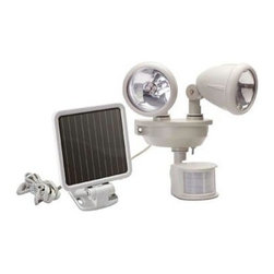 Maxsa Innovations - Solar 2 Head LED Security Spotlight - Solar 2 Head LED Sec. Sptlght. 2 Adjustable heads to aim light! Solar-Powered Dual Head LED Security Spotlight automatically turns on when motion is detected after dusk. Includes 3 rechargeable Ni-MH batteries, solar charging panel, and a 9-foot cable. Activates up to 150 times when on for 1 minute at a time. Off-White