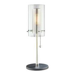 Sonneman Lighting - Sonneman Lighting 4392.57 Zylinder Table  In Polished Chrome and Satin Black - Sonneman Lighting 4392.57 Zylinder Table  In Polished Chrome And Satin Black