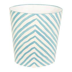 Worlds Away Oval Wastebasket, Turquoise and Cream Zebra Design - Oval Wastebasket, cream and turquoise zebra