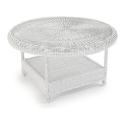 "Forever Patio - Rockport 36 in. Round Wicker Chat Table, White Wicker - Pull up your favorite seat to the charming and durable Rockport 36"" Round Chat Table (SKU FP-ROC-RCT-WH). Its UV-protected White wicker and round-weave design creates a cheery, traditional look that is made to last. This table also includes a tempered glass top, providing a beautiful and durable surface that is easy to maintain."