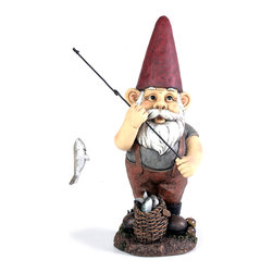 None - Kelkay Midi Fishing Gnome - Kelkay's exclusive 'Gnomes for Homes' decorative accents have a traditional and authentic appearance. Made from durable resin-stone and designed for both indoor and outdoor, the gnomes are a great addition to any home or garden.