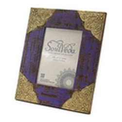 Everybody's Ayurveda - Aged Photo Frame (Purple), Mdf - Includes 4 - Distressed Purple Frame with Gold Accents. Made in India