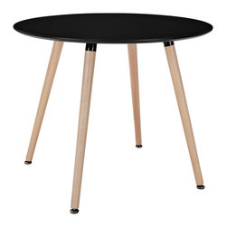 Modway - Modway EEI-1055 Track Circular Dining Table in Black - Like freshly budding plants, determined to sprout, ideas will push to the surface with this minimalist modern dining table. Track will generate a swirl of conversations, activities, and ideas that mix to form a vibrant atmosphere. Solid beechwood legs and a smooth veneer top create an artistic dining table that presents a clean slate at every gathering.