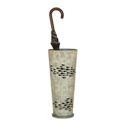 Welcome Home Accents - Fish Umbrella Stand - This mottled Verde metal umbrella stand is decorated with cut out schools of fish. In a neutral aqua blue seawash finish, this piece will compliment a wide variety of decors. Featuring  a weighted metal base and removable drip pan.