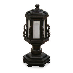 China Furniture and Arts - Hand Carved Wooden Pagoda Lamp - In the style of Japanese temple lantern, our pagoda shaped lamp is hand made of Elmwood with dark brown finish. Shimmering light through white silk reflects the meditative mood of Zen. Max 25 watt (bulb not included).