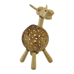 Recycled Coconut Shell Cow Accent Lamp Night Light - This hand crafted cow accent lamp adds a wonderful accent to your home, and it makes a great night light in children`s rooms. The body of the cow is made from a recycled coconut shell with dozens of holes drilled in it to let light shine through, while the head, neck, and legs are made of wood with rope accents and a natural finish. The lamp uses a night light style bulb (not included), has a rocker on/off switch, and measures 12 inches tall, 7 inches long, and 6 inches wide.