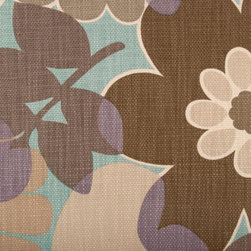Floral - Large - Aqua/Cocoa Upholstery Fabric - Item #1012265-680.