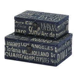 Benzara - Square Travel Boxes With European Landmarks - Why not travel Europe in style with some tasteful reminders of all the landmarks to visit. These square travel boxes are perfect to hold all the spoils of your travels, and are built well enough to travel the world many times over. When not in use they make for stunning container boxes for the coffee or end table.
