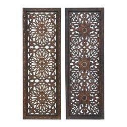 "Benzara - Set of 2 Uniquely Carved Elegant Wall Sculpture - Wood Wall Panel Assorted - Set of 2 Uniquely Carved Elegant Wall Sculpture - Wood Wall Panel Assorted 36""H x 12""W"
