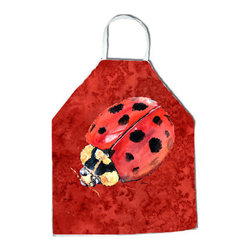 "Caroline's Treasures - Lady Bug on Deep Red Apron - Apron, Bib Style, 27""H x 31""W; 100% Ultra Spun Poly, White, braided nylon tie straps, sewn cloth neckband. These bib style aprons are not just for cooking - they are also great for cleaning, gardening, art projects, and other activities, too!"