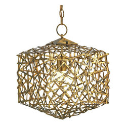 Currey and Company - Confetti Cube Pendant - Whimsical piece with interesting iron work that requires a skillful blacksmith to do the intricate detailing.
