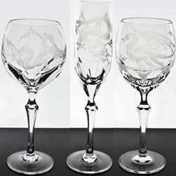 Varga Dragon Crystal Stemware - The Varga Dragon Crystal Stemware etched with fanciful dragons are truly works of art.