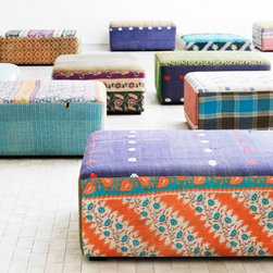 Antique Quilts Mags Ottoman - These ottomans from Danish brand Hay are covered with colorful vintage saris, so each one is unique. This flexible piece could be used as a coffee table and pulled into service as extra seating when needed.
