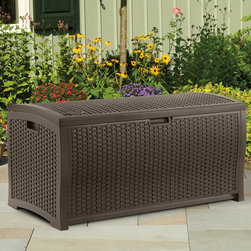 Suncast - Suncast DBW7300 Resin Wicker 73 Gallon Deck Box Multicolor - DBW7300 - Shop for Sheds and Storage from Hayneedle.com! The Suncast Resin Wicker 73 gal. Deck Box will safely store your outdoor gear while offering a bonus patio seat in a chic natural wicker-style design. Durably constructed of heavy-duty plastic this mocha storage box features woven-style inlays that give the appearance of natural wicker combining durable strength with naturally chic style. This unit's unique stay-dry design will help keep it dry through rainy days or snowy nights protecting your stored items from water damage. This lightweight storage box is also lockable for extra security and assembles in mere minutes. About Suncast Corporation:Suncast is known for its high-quality low-maintenance storage products and accessories. Organize gardens back yards garages basements and more. Suncast's full line of products includes everything from storage lockers to sheds and bins. Suncast pieces are designed for low-maintenance worry-free performance that's versatile enough to suit your every need.
