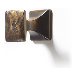 Solid Brass Gothic Square Knob - Unique and elegant, the Gothic Square Knob will nicely complement your cabinet doors. This piece of brass cabinet hardware features a sleek shape and beautifully textured surface.