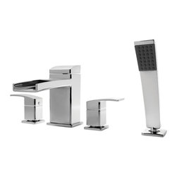 Price Pfister - Price Pfister Kenzo Roman Tub Trim with Handshower & Handles in Polished Chrome - Modern-inspired lavatory faucets with sleek architecture, simplistic lines and a beautiful water-efficient waterfall trough design. A delight for residential and hospitality projects alike.