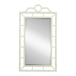 Chloe Mirror, White - This Bungalow 5 mirror is framed with white lacquer  faux bamboo. Wouldn't it be stunning in a foyer?