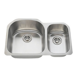 "MR Direct - Stainless Steel Kitchen Sink - The 3121L offset double bowl undermount sink is constructed from 304 grade stainless steel and is available in your choice of 18 or 16 gauge thicknesses. The surface has a brushed satin finish to help mask small scratches that occur over time and keep your sink looking beautiful for years. The overall dimensions of the 3121L are  and a 33"" minimum cabinet size is required. This sink contains a 3 1/2"" offset drain, is fully insulated and comes with sound dampening pads. As always, our stainless steel sinks are covered under a limited lifetime warranty for as long as you own the sink."