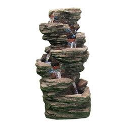 "Sunnydaze Decor - Multi-Level Flatrock Fountain w/LED Lights by Sunnydaze Decor - * Dimensions: 16"" W x 32"" H x 12"" D; 28 lbs"
