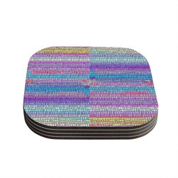 """Kess InHouse - Nina May """"Drip Dye Strid"""" Abstract Pastel Coasters (Set of 4) - Now you can drink in style with this KESS InHouse coaster set. This set of 4 coasters are made from a durable compressed wood material to endure daily use with a printed gloss seal that protects the artwork so you don't have to worry about your drink sweating and ruining the art. Give your guests something to ooo and ahhh over every time they pick up their drink. Perfect for gifts, weddings, showers, birthdays and just around the house, these KESS InHouse coasters will be the talk of any and all cocktail parties you throw."""