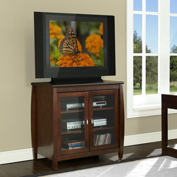 """Wildon Home � - Heights 30"""" TV Stand - The Heights 30'' Hi-Boy TV Stand is an elegant credenza for your small screen flat panel television. Crafted in a stylish mixture of traditional and contemporary styles, this credenza can easily accommodate most 37'' and smaller flat panel televisions. Finished in a warm walnut a rich neutral color that matches most home decor. This is also a versatile unit that can be used exclusively as an Audio/Video component storage piece. Features: -Material: Solid wood and real wood veneer.-Conceals your components behind framed glass doors.-Designed to compliment SWBL48 and SWBL60.-Convenient wire management cut-outs.-Easily accommodate up to 6 A/V components.-Recommended TV Type: Flat panel TV.-TV Size Accommodated: Most 37 and smaller flat panels.-Finish: Walnut.-Powder Coated Finish: No.-Gloss Finish: No.-Material: Wood.-Solid Wood Construction: No.-Distressed: No.-Exterior Shelves: No.-Drawers: No.-Cabinets: Yes -Number of Cabinets: 1.-Number of Doors: 2.-Door Attachment Detail: Hinges.-Interchangeable Panels: No.-Magnetic Door Catches: Yes.-Number of Interior Shelves: 3.-Adjustable Interior Shelves: No..-Scratch Resistant: Yes.-Ventilation Features: Ventilation slots in back panel.-Removable Back Panel: Yes.-Casters: No.-Accommodates Fireplace: No.-Fireplace Included: No.-Lighted: No.-Media Storage: No.-Cable Management: Wire routing cutouts on the back.-Remote Control Included: No.-Batteries Required: No.-Weight Capacity: 141 lbs.-Swatch Available: No.-Commercial Use: Yes.-Collection: Heights.-Eco-Friendly: Yes.-Recycled Content: No.-Lift Mechanism: No.-Expandable: No.-TV Swivel Base: No.-Integrated Flat Screen Mount: No.-Hardware Material: Steel.-Non-Toxic: Yes.-Product Care: Wipe with a soft damp cloth.Specifications: -ISTA 3A Certified: Yes.-CARB 2 Certified: Yes.-CARB Certified: Yes.-FSC Certified: No.-General Conformity Certified: No.-EPP Certified: No.Dimensions: -30'' Wide hi-boy accommodates most 37'' and smaller flat pane"""