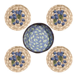 Earth Rugs - Blueberry Round Coasters in a Basket (Set of 5) - Our Jute products are crafted with sustainably harvested jute, a fast-growing, renewable natural fiber. The jute is then hand braided into unique patterns.