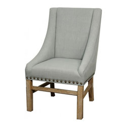 "New Pacific Direct - Aaron Sloping Arm Chair by NPD Furniture, Soft Blue, Natural Wood Legs - Dimensions: 23.5"" x 28.5"" x 39.5"" / 19.5"""