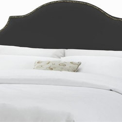 Skyline Furniture - Notched Nail Button Headboard w Foam Padding - Choose Size: TwinAdjustable legs. Plush foam padding. Attaches to standard bed frames. Made from 57% cotton and 43% rayon. Made in the USA. Minimal assembly required. Twin: 41 in. L x 4 in. W x 54 in. H (24 lbs.). Queen: 63 in. L x 4 in. W x 54 in. H (30 lbs.). King: 78 in. L x 4 in. W x 54 in. H (41 lbs.). California king: 74 in. L x 4 in. W x 54 in. H (36 lbs.)Silk notched nail button headboard