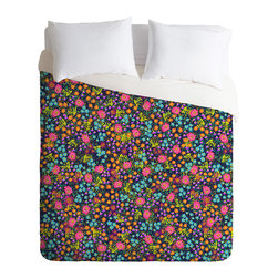 DENY Designs - Joy Laforme Wild Blooms Duvet Cover - Turn your basic, boring down comforter into the super stylish focal point of your bedroom. Our Luxe Duvet is made from a heavy-weight luxurious woven polyester with a 50% cotton/50% polyester cream bottom. It also includes a hidden zipper with interior corner ties to secure your comforter. it's comfy, fade-resistant, and custom printed for each and every customer.