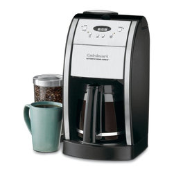 Cuisinart - Cuisinart DGB-550BK Automatic Grind and Brew Coffee Maker Multicolor - DGB-550BK - Shop for Coffee Makers from Hayneedle.com! Imagine waking up each morning to a hot pot of the freshest most aromatic coffee possible. It's possible with the Cuisinart DGB 550BK Automatic Grind and Brew. In a stainless steel and black housing this brewing machine will look sleek on your countertop and serve up a delicious cup. It automatically grinds whole beans just before brewing so you get the freshest pot of coffee possible. With 24-hour programmability you can have the coffee brewed and waiting for you when you wake up. There is a brew pause feature that lets you enjoy a cup before the machine is done brewing and you can set it to brew one to four cups if you don't need a full carafe. Additional features include an adjustable automatic shutoff from 0 to 4 hours for added safety and a grind off feature for those times when you're using pre-ground beans. This 12-cup glass carafe equals out to 5 ounces each cup. It has an ergonomic handle and dripless spout for easy pouring and a knuckle guard for safety. A charcoal water filter removes impurities so you'll get a clean fresh pot with every brew. The gold-tone commercial filter will be great pot after pot keeping the grounds where they belong. Enjoy easy cleaning thanks to the separate grinder chamber and filter area. About CuisinartOne of the most recognized names in cookware and kitchen products Cuisinart first became popular when introduced to the public by culinary experts Julia Child and James Beard. In 1973 the Cuisinart food processor revolutionized the way we create fine food and healthy dishes and since that time Cuisinart has continued its path of innovation. Under management by the Conair Corporation since 1989 Cuisinart is a universally celebrated name in kitchens across the globe. With a full-service product line including bakeware blenders coffeemakers cookware countertop appliances kitchen tools and much much more Cuisinart products are preferred by chefs and loved by consumers for durability ease of use superior quality and style.