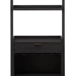 Sloane Grey Leaning Wine Bar - The next generation of our popular leaning storage system—sleek and clean in grey-stained mahogany. Ladder-style design secures against the wall for maximum stability. Sturdy wine bar also has a storage drawer beneath the open serving area, and two fixed shelves above.