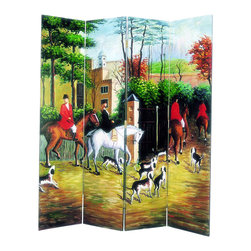 Wayborn - Wayborn Hand Painted Hunting Scene Room Divider - Wayborn - Room Dividers - 1206 - Wayborn hand painted screens start with a cedar plywood frame covered in a cheesecloth material. Then layer after layer of plaster is applied; each layer must dry before another layer can be applied. After all the plaster has been applied several coats of lacquer is put over the entire surface. At that time the artist begins to sketch out the painting directly on the panels of the screen and begins painting the design with water based paint.  Each one of these screens has its own characteristics and is truly a work of art.