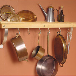 None - J.K. Adams Wall-mounted Natural Wood Pot Rack - Stop storing pots and pans in your pantry with this stylish wall-mounted pan rack. The rack will allow you to display six pots and pans anywhere you choose. It is easy to install and comes with everything you need for quick installation.