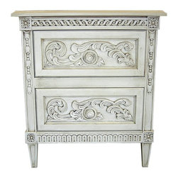 British Traditions - Carved French Chest and Side Table, French Grey, 2 Drawers - Finish: French Grey. Each finish is hand painted and actual finish color may differ from those show for this product. Highly carved French chest. 2 Drawers. Can only take knobs, not pulls. Can double as a side table. Drawer size: 20.25 in. W x 17.5 in. D x 8.75 in. H. 27.25 in. W x 21.375 in. D x 30.75 in. H (73 lbs.)Highly carved with French moldings, the Peu de Fleur chest adds elegance to any size space.