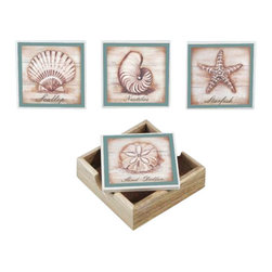 Handcrafted Model Ships - Set of 4 - Ceramic Seashell Coasters with Holder - These fun and eclectic decorative ceramic seashell coasters bring the beach directly to any setting. Handcrafted by our master artisans, it is the ideal piece for nautical enthusiasts and beach-lovers alike. Available in different styles, let the beach come to you.
